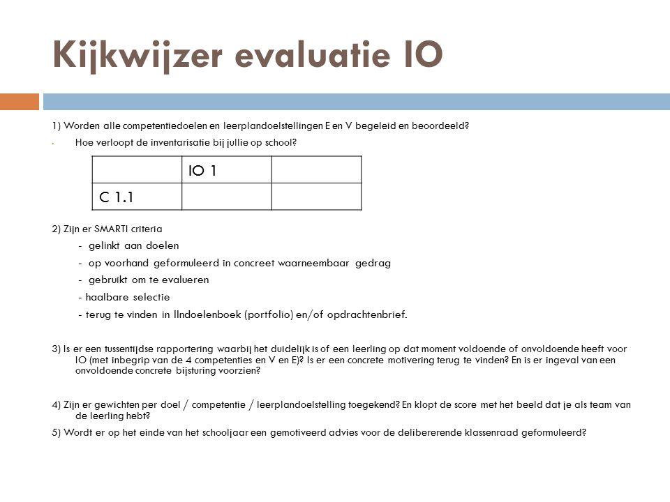 Kijkwijzer evaluatie IO 1) Worden alle competentiedoelen en leerplandoelstellingen E en V begeleid en beoordeeld? Hoe verloopt de inventarisatie bij j