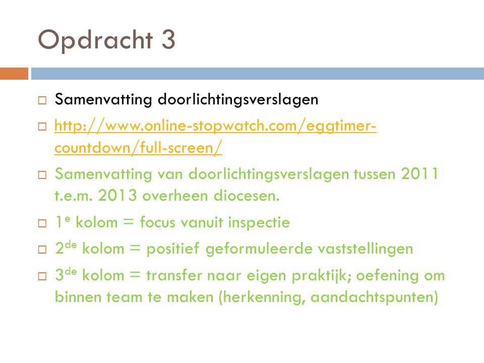 Opdracht 3  Samenvatting doorlichtingsverslagen  http://www.online-stopwatch.com/eggtimer- countdown/full-screen/ http://www.online-stopwatch.com/eg