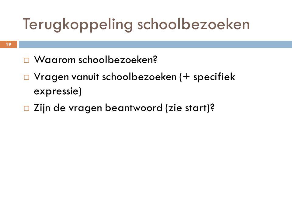 Terugkoppeling schoolbezoeken  Waarom schoolbezoeken?  Vragen vanuit schoolbezoeken (+ specifiek expressie)  Zijn de vragen beantwoord (zie start)?