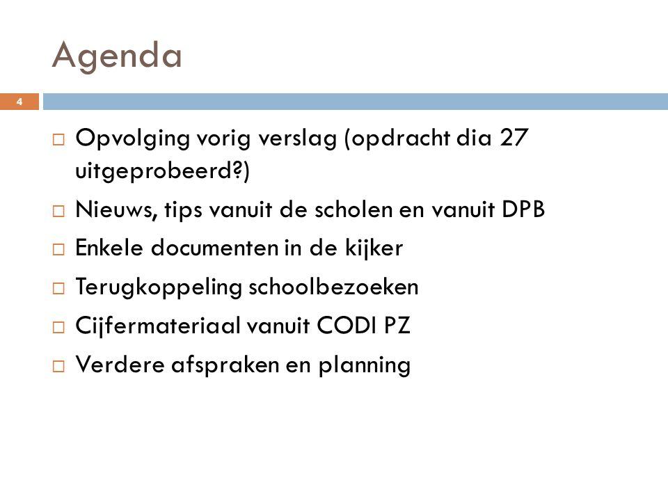 Agenda 4  Opvolging vorig verslag (opdracht dia 27 uitgeprobeerd?)  Nieuws, tips vanuit de scholen en vanuit DPB  Enkele documenten in de kijker 