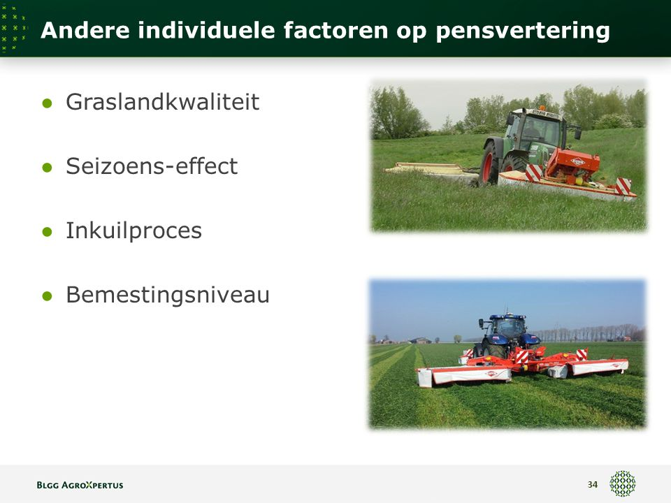 Andere individuele factoren op pensvertering ● Graslandkwaliteit ● Seizoens-effect ● Inkuilproces ● Bemestingsniveau 34