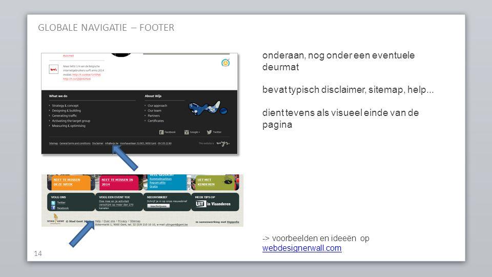 GLOBALE NAVIGATIE – FOOTER 14 onderaan, nog onder een eventuele deurmat bevat typisch disclaimer, sitemap, help...