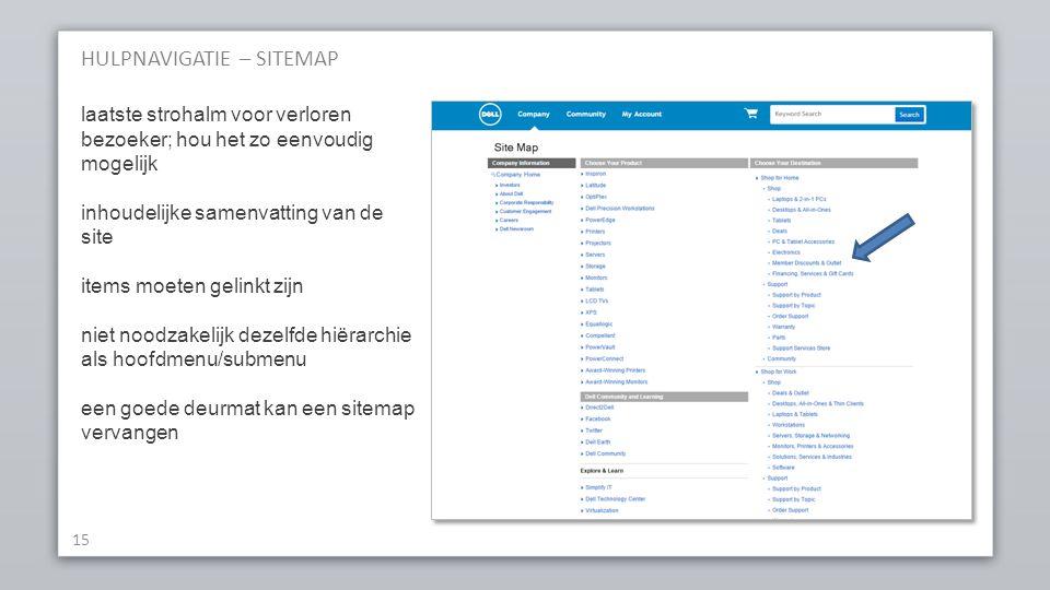 HULPNAVIGATIE – SITEMAP 15 laatste strohalm voor verloren bezoeker; hou het zo eenvoudig mogelijk inhoudelijke samenvatting van de site items moeten gelinkt zijn niet noodzakelijk dezelfde hiërarchie als hoofdmenu/submenu een goede deurmat kan een sitemap vervangen