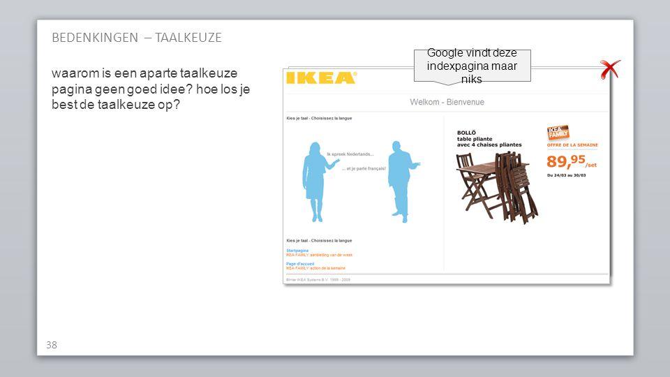 BEDENKINGEN – TAALKEUZE 38 waarom is een aparte taalkeuze pagina geen goed idee.