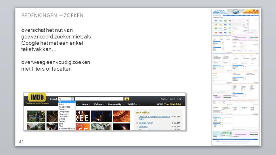 BEDENKINGEN – ZOEKEN 42 overschat het nut van geavanceerd zoeken niet; als Google het met een enkel tekstvak kan...