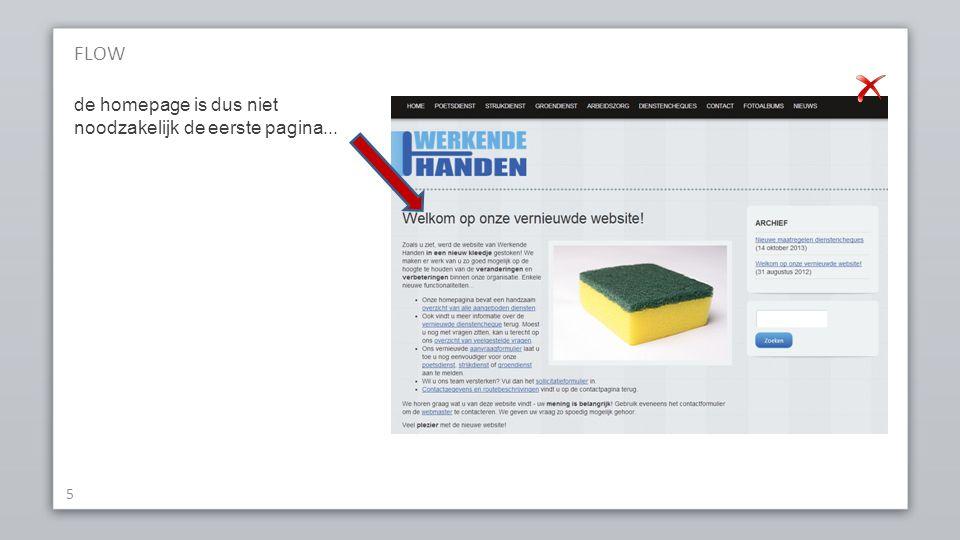 FLOW 5 de homepage is dus niet noodzakelijk de eerste pagina...