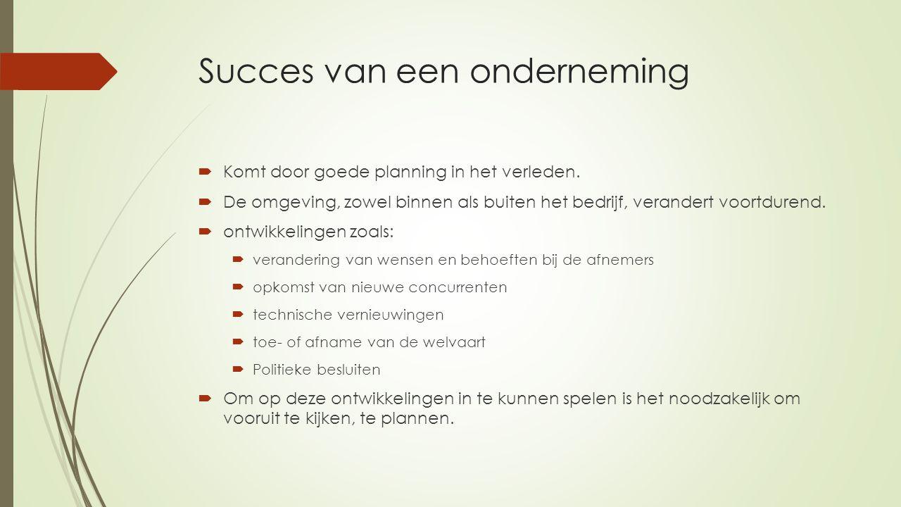 Succes van een onderneming  Komt door goede planning in het verleden.