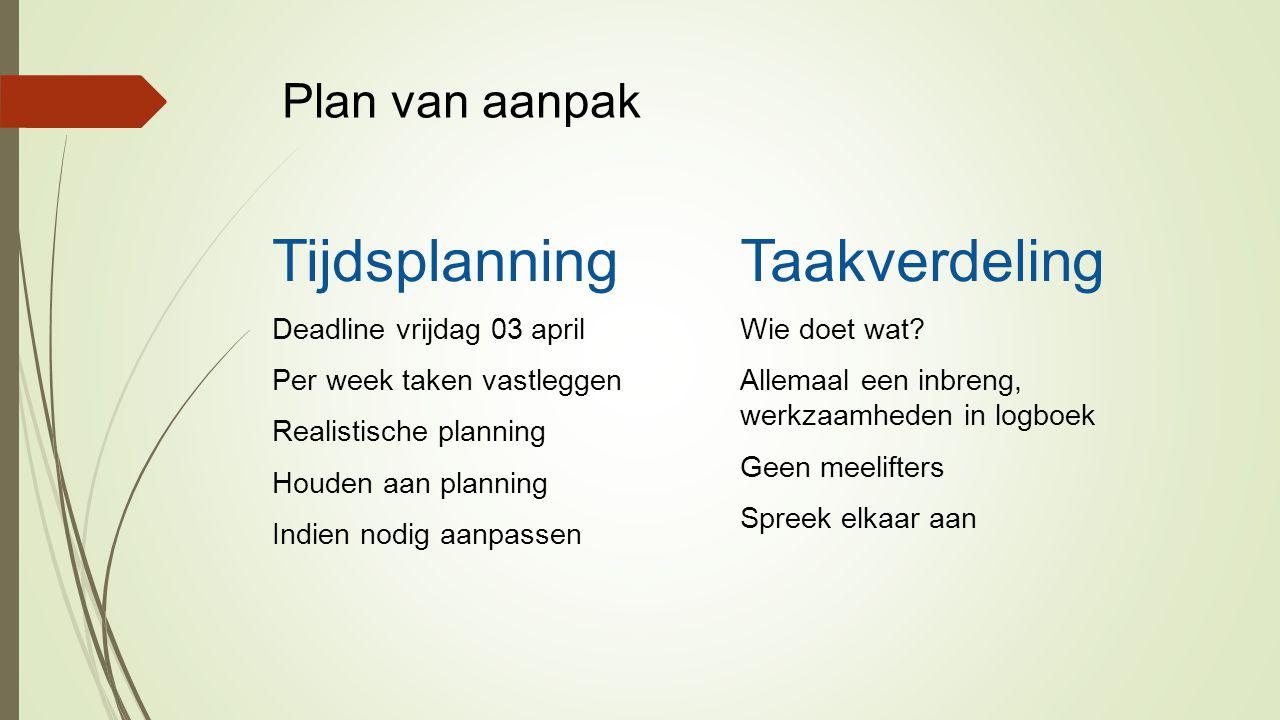 Plan van aanpak Tijdsplanning Deadline vrijdag 03 april Per week taken vastleggen Realistische planning Houden aan planning Indien nodig aanpassen Taakverdeling Wie doet wat.
