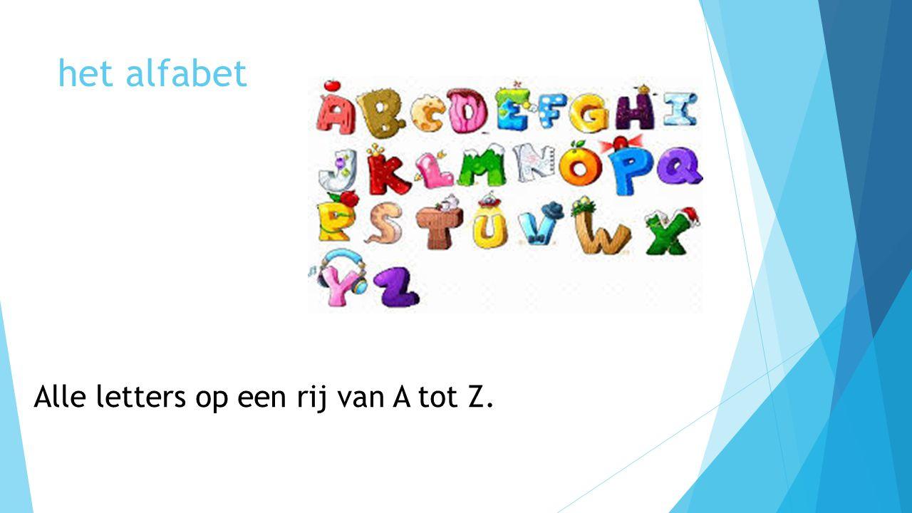 Alle letters op een rij van A tot Z.