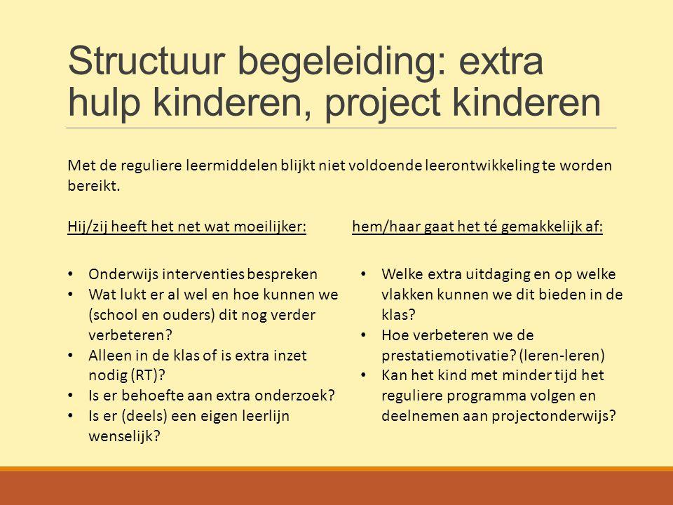 Structuur begeleiding: extra hulp kinderen, project kinderen Met de reguliere leermiddelen blijkt niet voldoende leerontwikkeling te worden bereikt. H