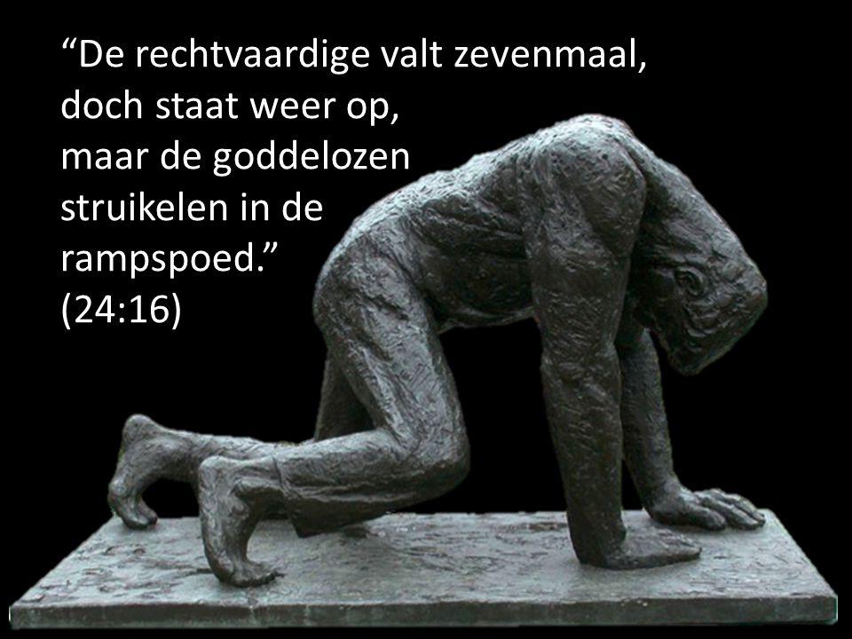 """""""De rechtvaardige valt zevenmaal, doch staat weer op, maar de goddelozen struikelen in de rampspoed."""" (24:16)"""