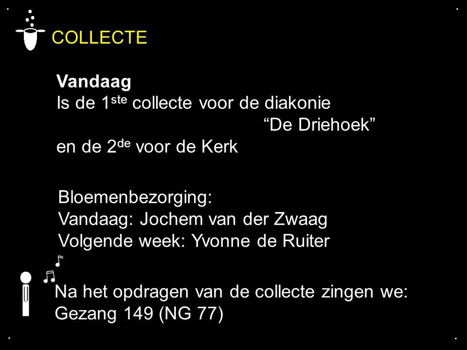 """.... COLLECTE Vandaag Is de 1 ste collecte voor de diakonie """"De Driehoek"""" en de 2 de voor de Kerk Bloemenbezorging: Vandaag: Jochem van der Zwaag Volg"""