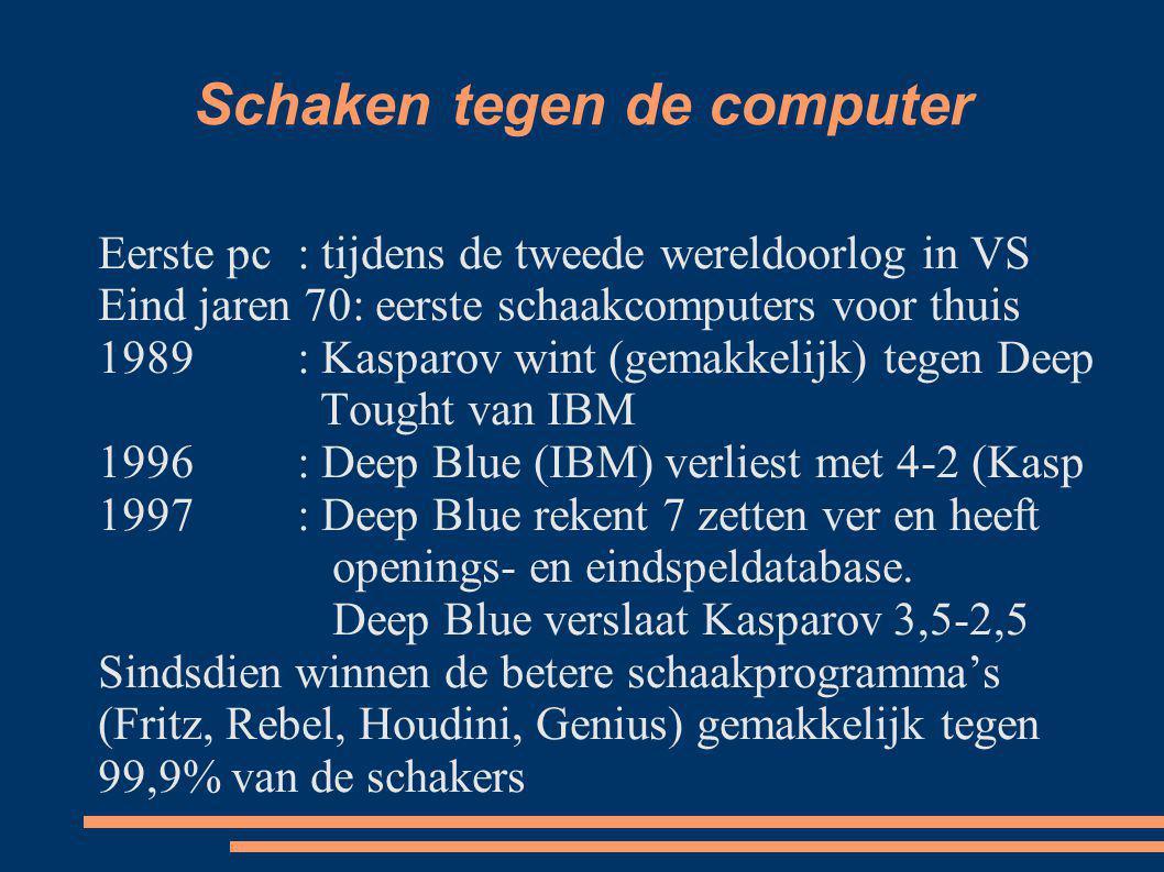 Schaken tegen de computer Eerste pc : tijdens de tweede wereldoorlog in VS Eind jaren 70: eerste schaakcomputers voor thuis 1989: Kasparov wint (gemak