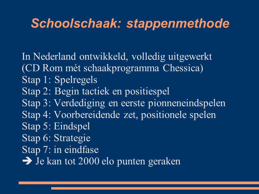 Schoolschaak: stappenmethode In Nederland ontwikkeld, volledig uitgewerkt (CD Rom mét schaakprogramma Chessica) Stap 1:Spelregels Stap 2:Begin tactiek