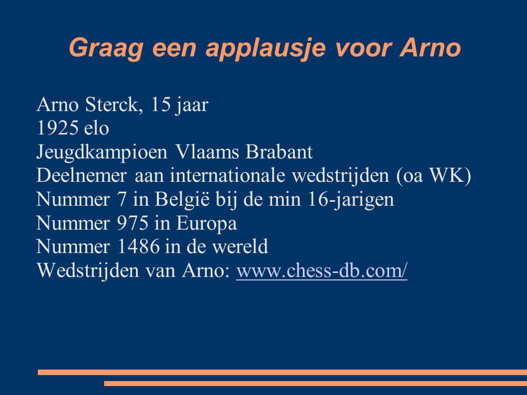 Graag een applausje voor Arno Arno Sterck, 15 jaar 1925 elo Jeugdkampioen Vlaams Brabant Deelnemer aan internationale wedstrijden (oa WK) Nummer 7 in