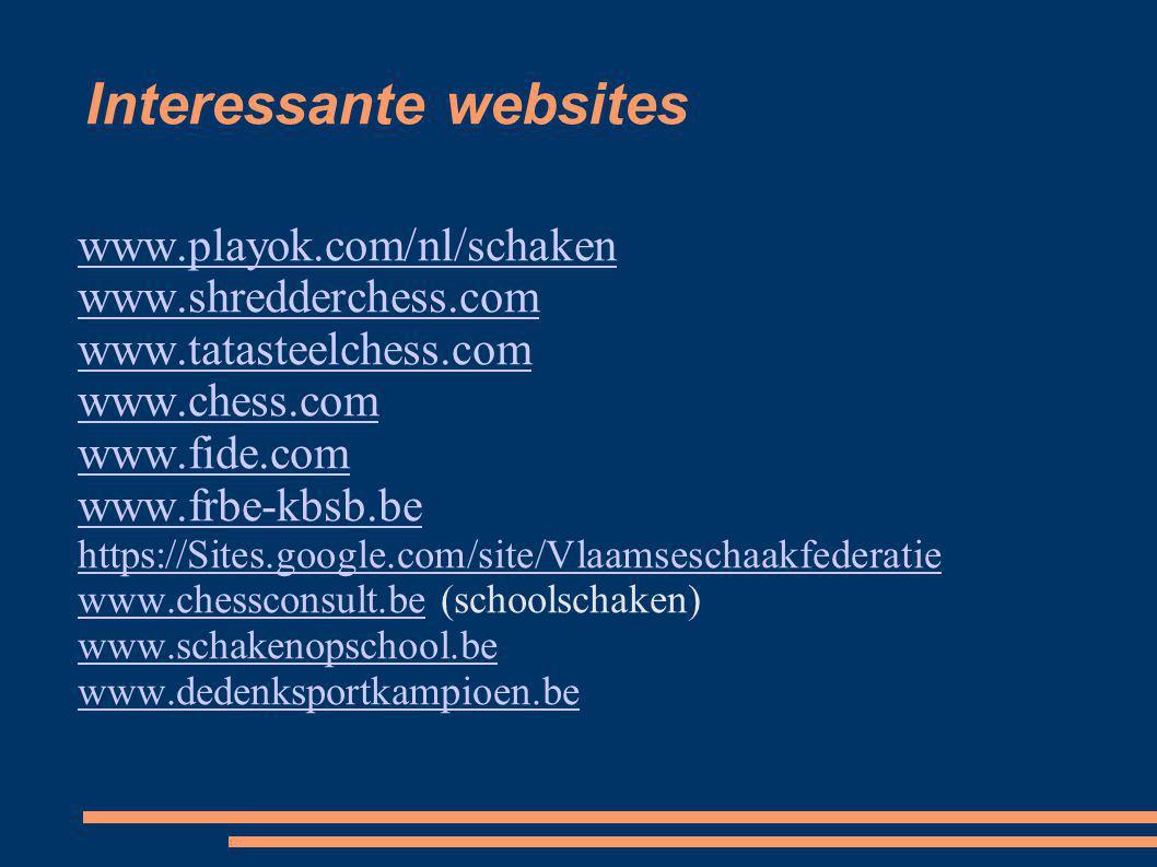 Interessante websites www.playok.com/nl/schaken www.shredderchess.com www.tatasteelchess.com www.chess.com www.fide.com www.frbe-kbsb.be https://Sites