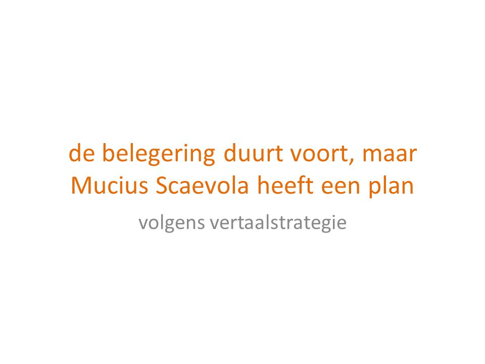 de belegering duurt voort, maar Mucius Scaevola heeft een plan volgens vertaalstrategie