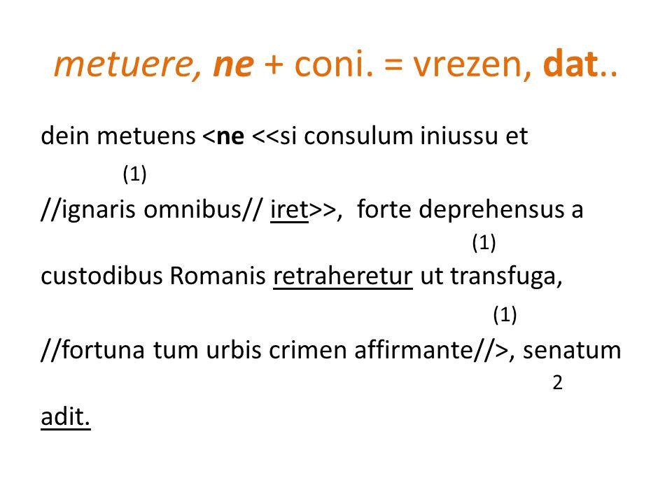 metuere, ne + coni. = vrezen, dat.. dein metuens <ne <<si consulum iniussu et (1) //ignaris omnibus// iret>>, forte deprehensus a (1) custodibus Roman