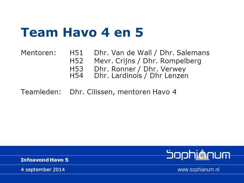 4 september 2014 Infoavond Havo 5 Team Havo 4 en 5 Mentoren:H51Dhr.