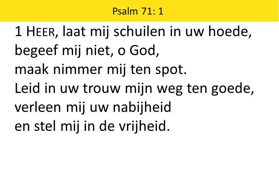 1 H EER, laat mij schuilen in uw hoede, begeef mij niet, o God, maak nimmer mij ten spot. Leid in uw trouw mijn weg ten goede, verleen mij uw nabijhei