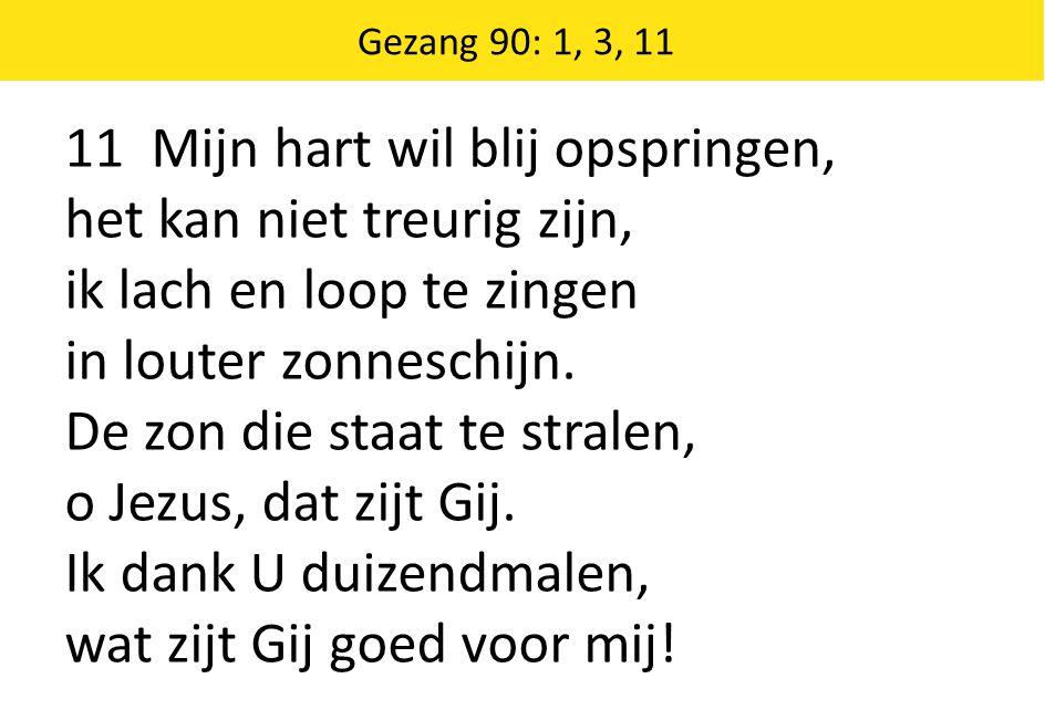 Zingende Gezegend 185 Gezang 90: 1, 3, 11 11 Mijn hart wil blij opspringen, het kan niet treurig zijn, ik lach en loop te zingen in louter zonneschijn.