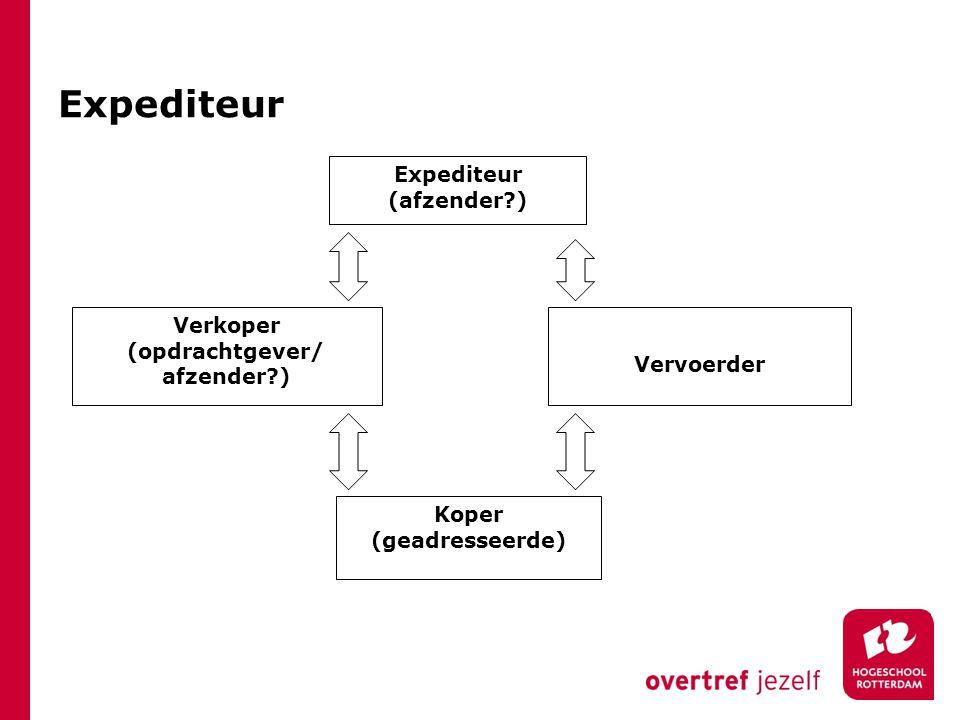Expediteur (afzender?) Verkoper (opdrachtgever/ afzender?) Koper (geadresseerde) Vervoerder Expediteur
