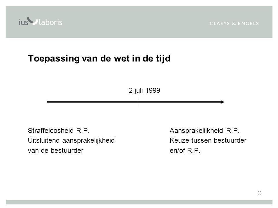 36 Toepassing van de wet in de tijd 2 juli 1999 Straffeloosheid R.P.Aansprakelijkheid R.P.