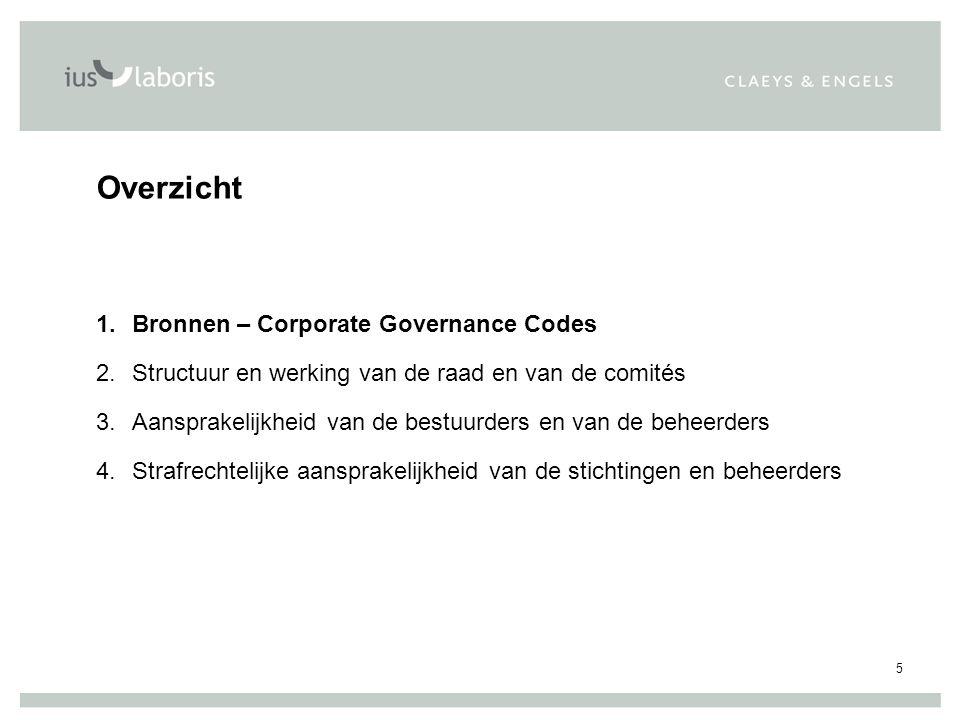 5 Overzicht 1.Bronnen – Corporate Governance Codes 2.Structuur en werking van de raad en van de comités 3.Aansprakelijkheid van de bestuurders en van de beheerders 4.Strafrechtelijke aansprakelijkheid van de stichtingen en beheerders