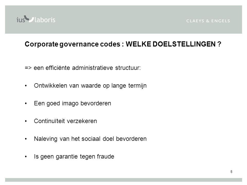 9 Overzicht 1.Bronnen – Corporate Governance Codes 2.Structuur en werking van de raad en van de comités 3.Aansprakelijkheid van de bestuurders en van de beheerders 4.Strafrechtelijke aansprakelijkheid van de stichtingen en beheerders