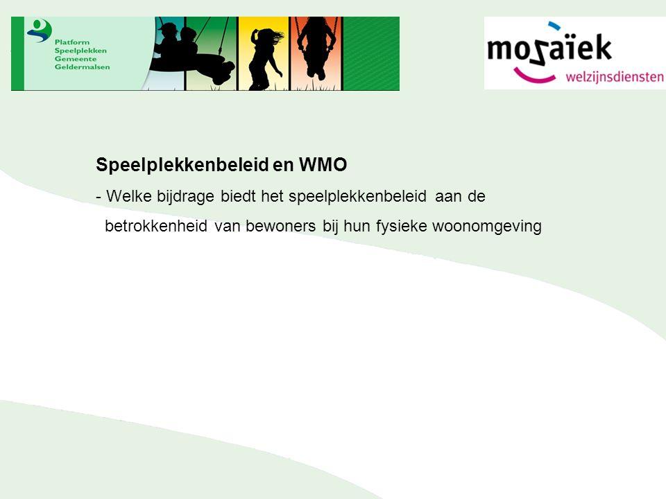 Speelplekkenbeleid en WMO - Welke bijdrage biedt het speelplekkenbeleid aan de betrokkenheid van bewoners bij hun fysieke woonomgeving
