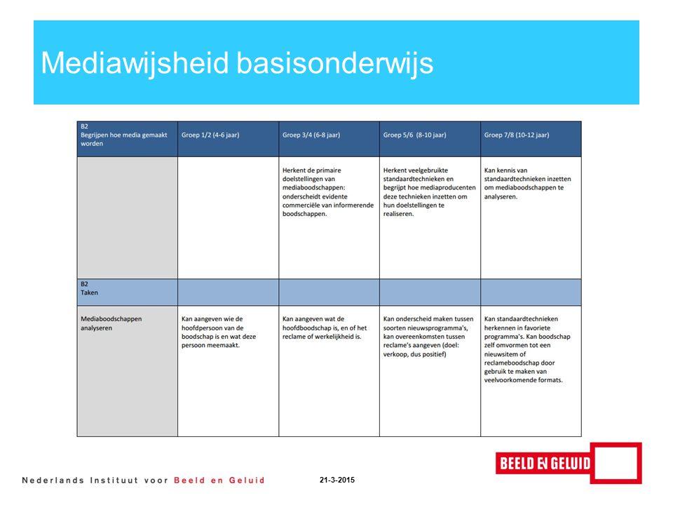 Mediawijsheid basisonderwijs 21-3-2015