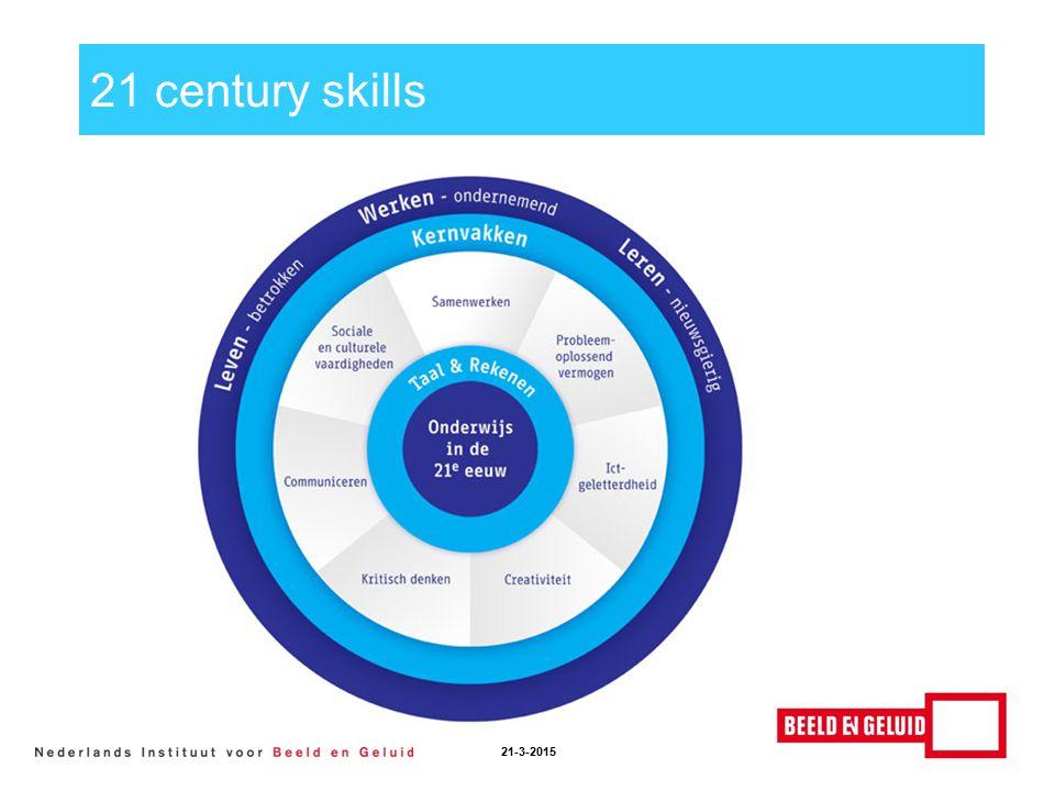 Skills 21-3-2015 Samenwerken Creativiteit ict-geletterdheid Communiceren probleemoplossend vermogen kritisch denken sociale en culturele vaardigheden Uitvoering van deze skills op basis van het mediawijsheid competentiemodel