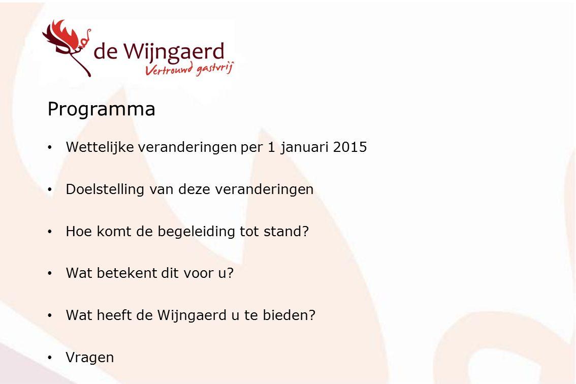 Programma Wettelijke veranderingen per 1 januari 2015 Doelstelling van deze veranderingen Hoe komt de begeleiding tot stand? Wat betekent dit voor u?