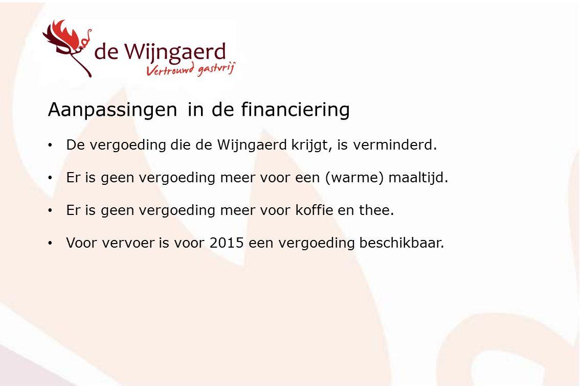 Aanpassingen in de financiering De vergoeding die de Wijngaerd krijgt, is verminderd. Er is geen vergoeding meer voor een (warme) maaltijd. Er is geen