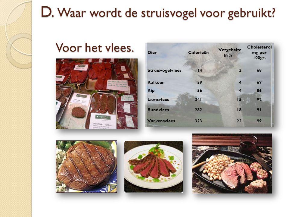 Voor het vlees. DierCalorieën Vetgehalte In % Cholesterol mg per 100gr. Struisvogelvlees114268 Kalkoen159469 Kip156486 Lamsvlees2411592 Rundvlees28218