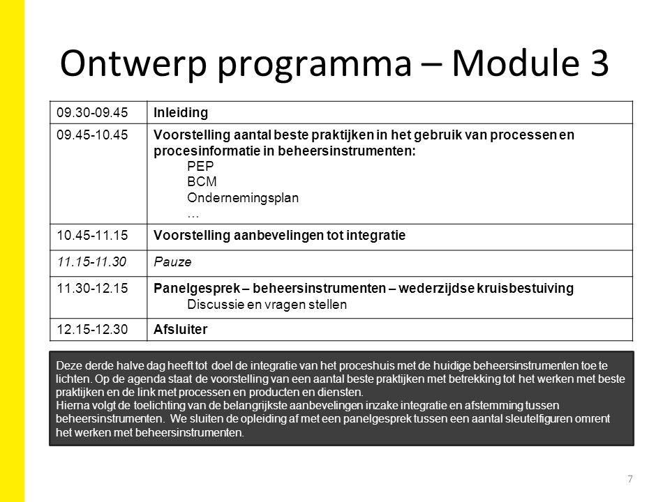 Ontwerp programma – Module 3 09.30-09.45Inleiding 09.45-10.45Voorstelling aantal beste praktijken in het gebruik van processen en procesinformatie in