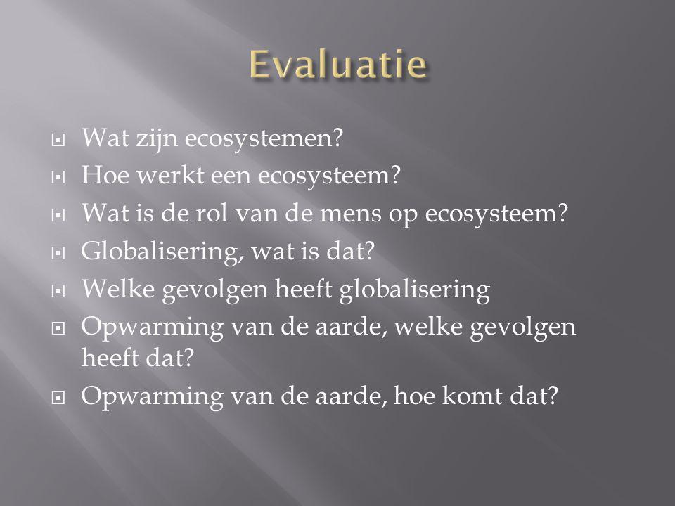  Wat zijn ecosystemen?  Hoe werkt een ecosysteem?  Wat is de rol van de mens op ecosysteem?  Globalisering, wat is dat?  Welke gevolgen heeft glo