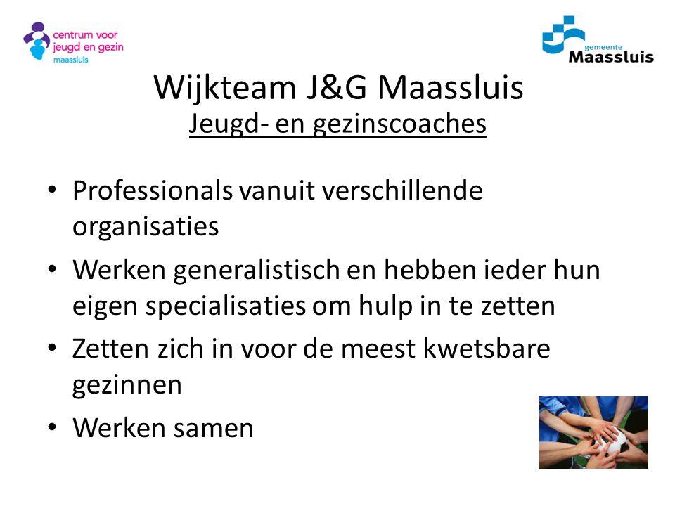Wijkteam J&G Maassluis Jeugd- en gezinscoaches Professionals vanuit verschillende organisaties Werken generalistisch en hebben ieder hun eigen special