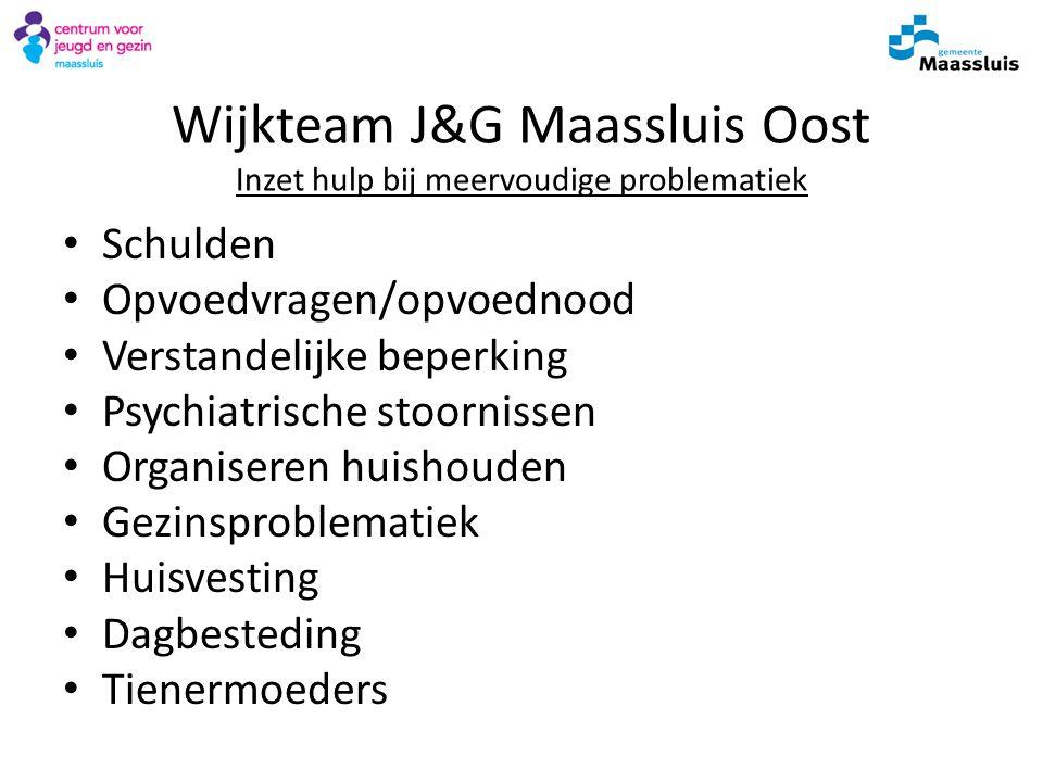 Wijkteam J&G Maassluis Oost Inzet hulp bij meervoudige problematiek Schulden Opvoedvragen/opvoednood Verstandelijke beperking Psychiatrische stoorniss