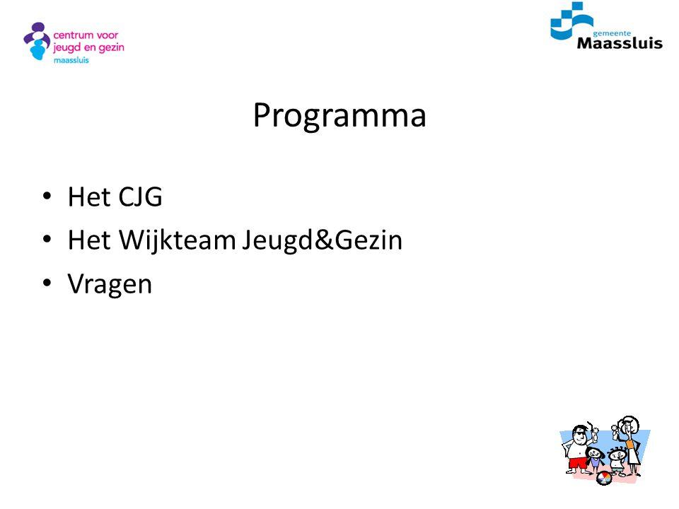 Programma Het CJG Het Wijkteam Jeugd&Gezin Vragen