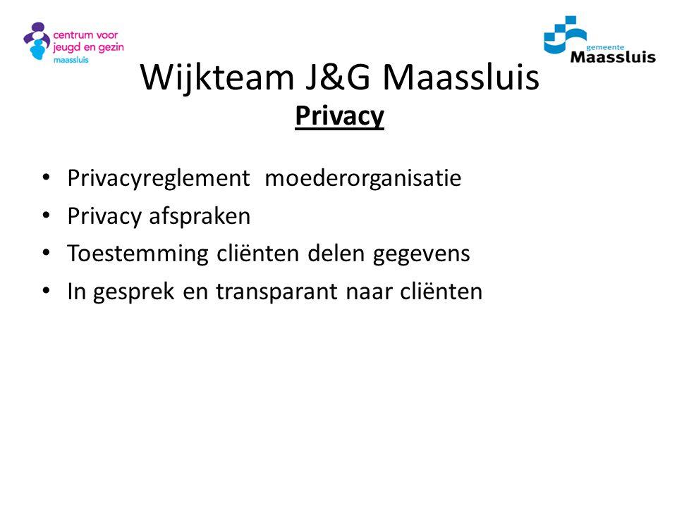 Privacyreglement moederorganisatie Privacy afspraken Toestemming cliënten delen gegevens In gesprek en transparant naar cliënten Wijkteam J&G Maasslui