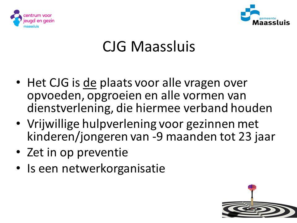 CJG Maassluis Het CJG is de plaats voor alle vragen over opvoeden, opgroeien en alle vormen van dienstverlening, die hiermee verband houden Vrijwillig
