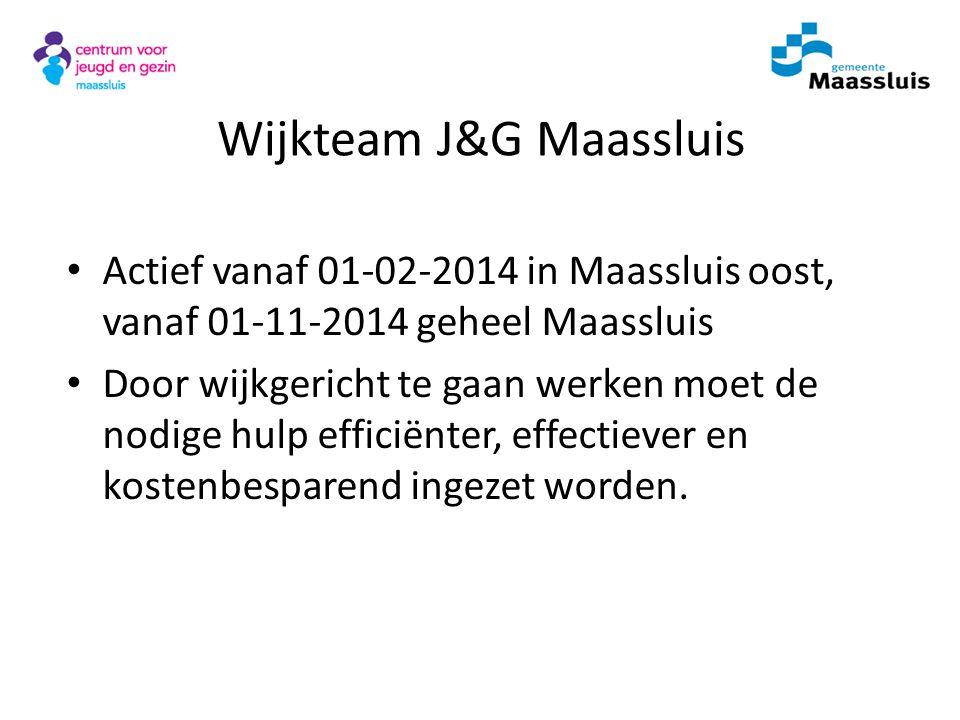 Wijkteam J&G Maassluis Actief vanaf 01-02-2014 in Maassluis oost, vanaf 01-11-2014 geheel Maassluis Door wijkgericht te gaan werken moet de nodige hul