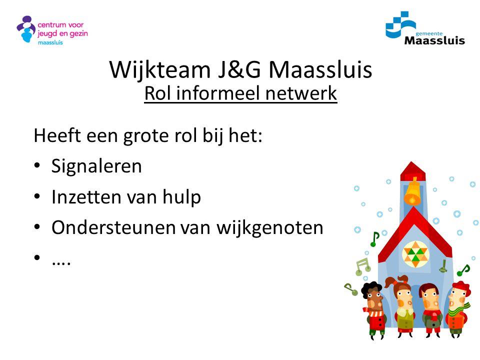 Formele Wijknetwerk Gezin School Kinder- opvang AMWMEEHuisartsPolitieJGZSMW Wijkteam J&G Maassluis