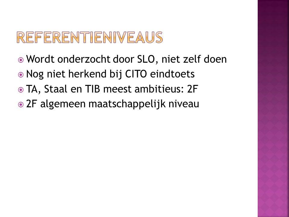  Wordt onderzocht door SLO, niet zelf doen  Nog niet herkend bij CITO eindtoets  TA, Staal en TIB meest ambitieus: 2F  2F algemeen maatschappelijk