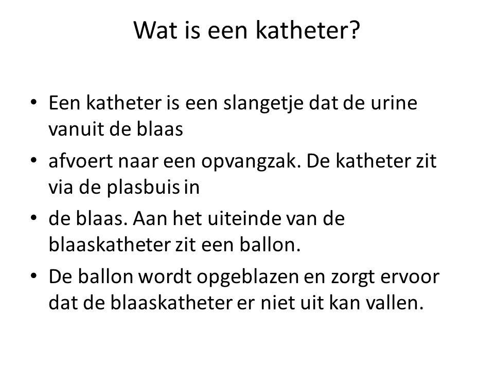 Wat is een katheter? Een katheter is een slangetje dat de urine vanuit de blaas afvoert naar een opvangzak. De katheter zit via de plasbuis in de blaa