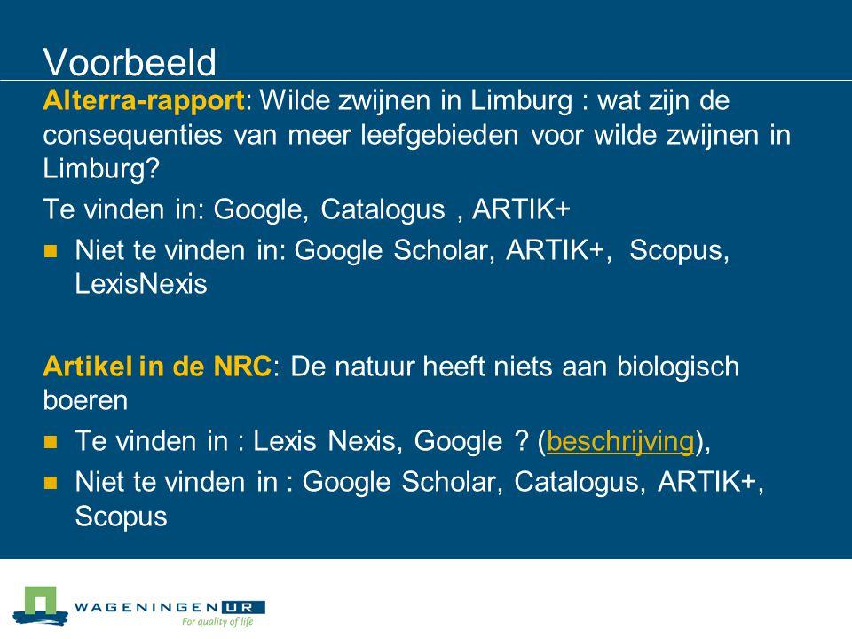 Voorbeeld Alterra-rapport: Wilde zwijnen in Limburg : wat zijn de consequenties van meer leefgebieden voor wilde zwijnen in Limburg.