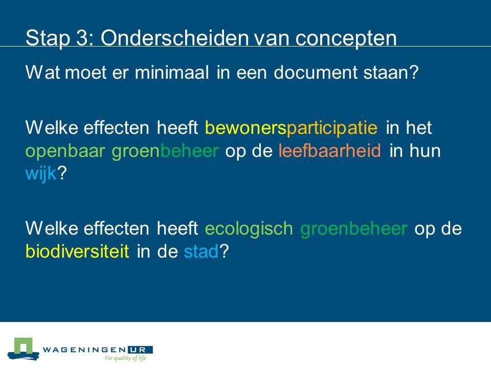 Stap 3: Onderscheiden van concepten Wat moet er minimaal in een document staan.