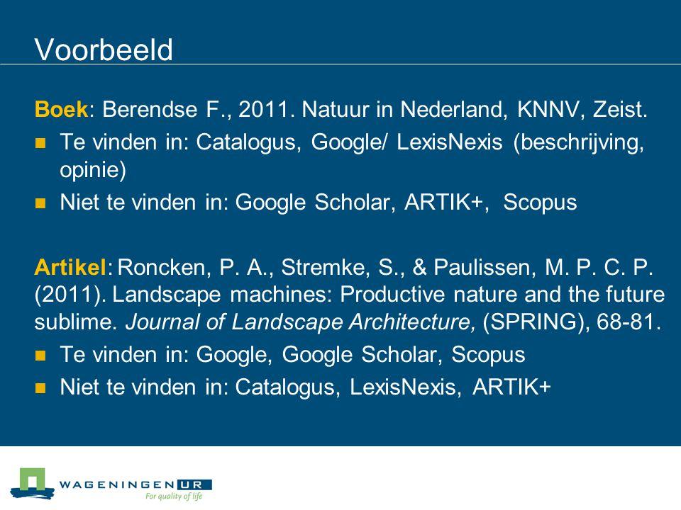 Voorbeeld Boek: Berendse F., 2011. Natuur in Nederland, KNNV, Zeist.