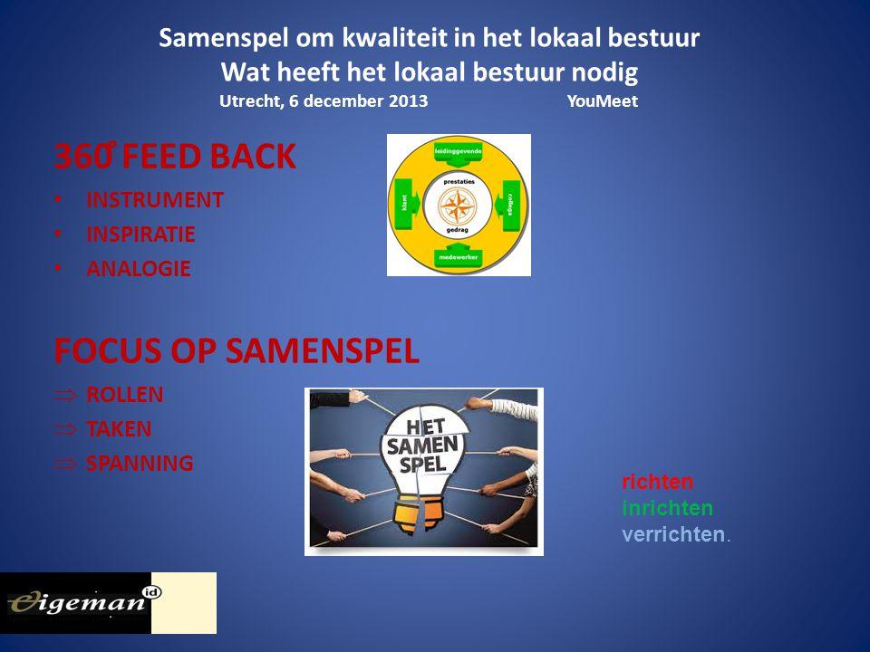Samenspel om kwaliteit in het lokaal bestuur Wat heeft het lokaal bestuur nodig Utrecht, 6 december 2013YouMeet richten inrichten verrichten.